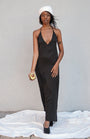 K M by L A N G E - BLACK OPEN BACK ASYMMETRIC SLIP DRESS, image no.3
