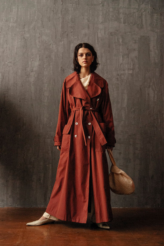 RED WINE OVERSIZE COTTON 90s LONG TRENCH