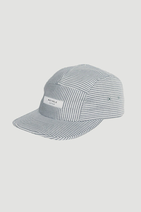 Striped 5-Panel logo cap