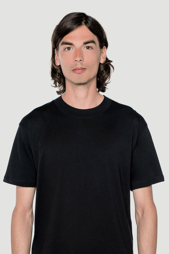 Rotholz - 'Basic' T-shirt wide collar black