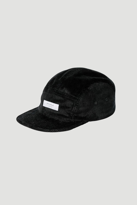 'Label' Corduroy 5-Panel Bio Cap Black