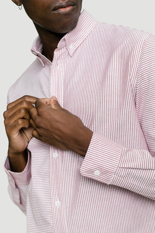 Basic Shirt Button-Down Collar Striped Red/White