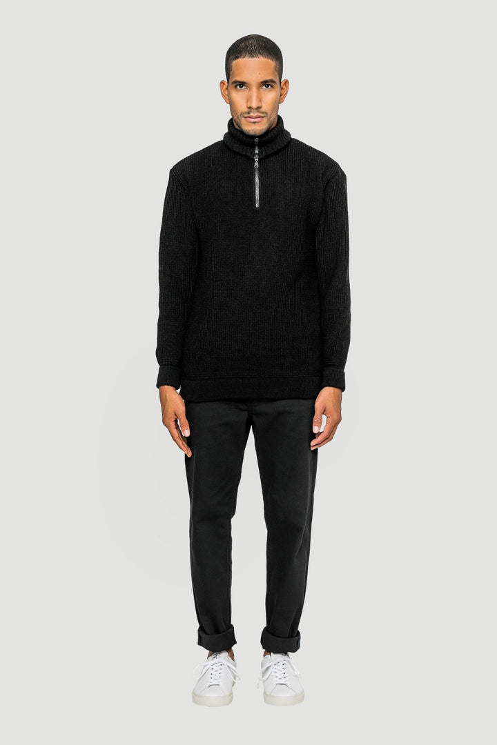 Rotholz - 'Basic' Wool Knit Troyer Black