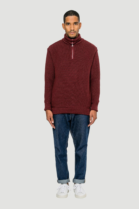 Basic Wool Half-Zip Wine Red