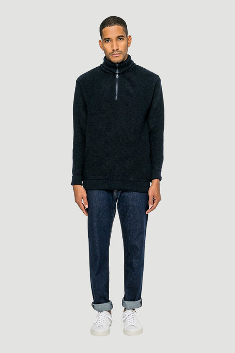 Basic Wool Half-Zip Navy
