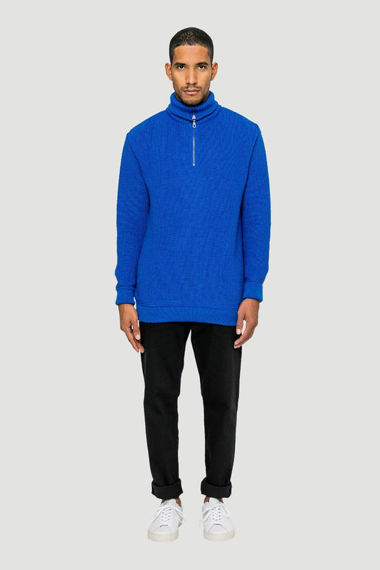 Basic Wool Half-Zip Royal Blue