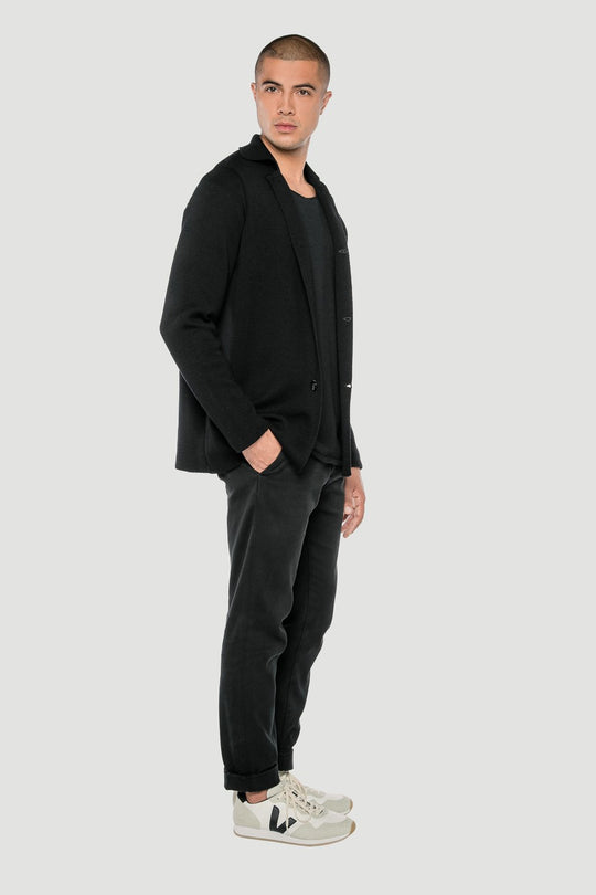 Basic Merino Button Jacket Black