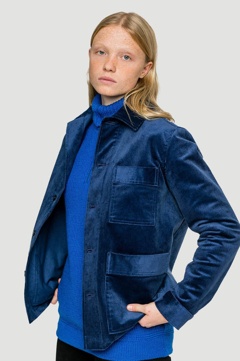 Basic Organic Corduroy Jacket in Blue