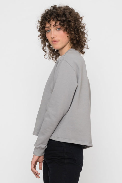 'Rights' Cropped Sweatshirt Grey