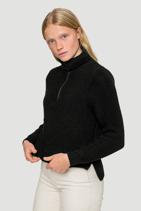 'Basic' Cropped Knitted Troyer in Black