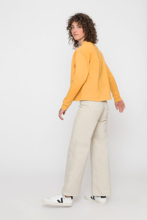 'Rights' Cropped Sweatshirt Mustard Yellow