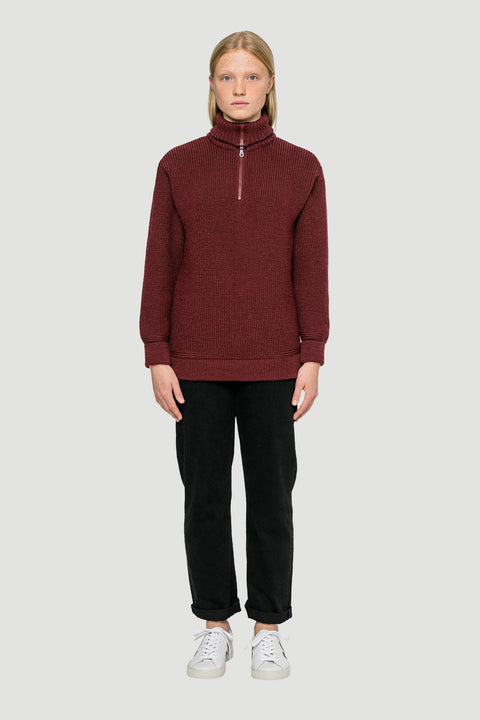 Basic Wool Half-Zip Wine Red W