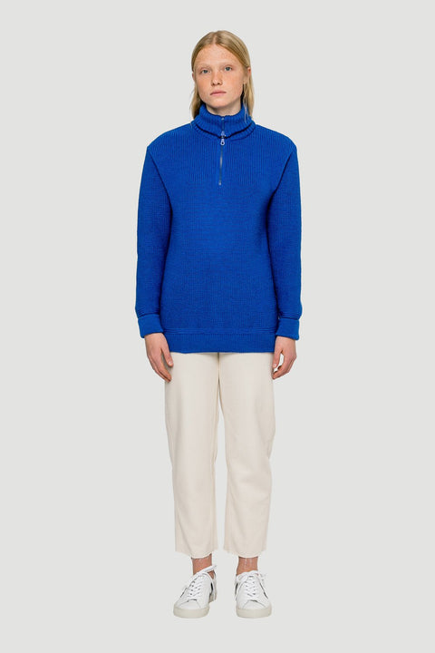 Basic Wool Half-Zip Royal Blue W