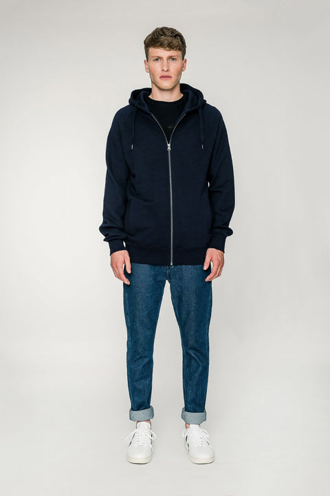 'Capital' Zip-Up Hoodie Marineblau