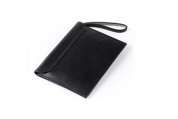 The Camille Clutch in Black Nappa Leather