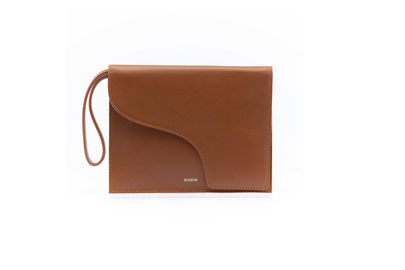 The Camille Clutch in Cognac Nappa Leather