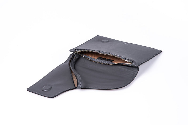 The Camille Clutch in Slate Nappa Leather