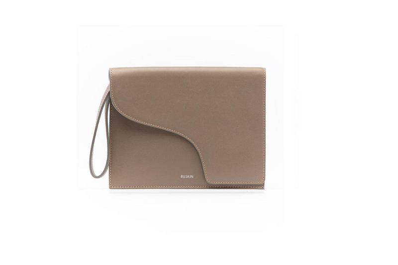The Camille Clutch in Mud Nappa Leather