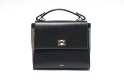 The Aster in Black Leather & Tweed