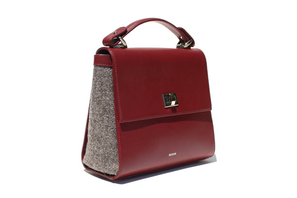 The Aster in Bordeaux Leather & Tweed