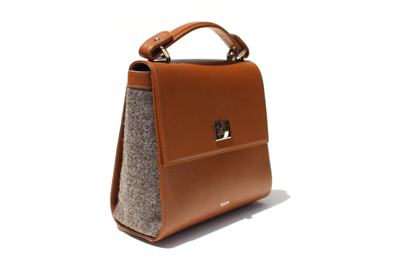 The Aster in Cognac Leather & Tweed