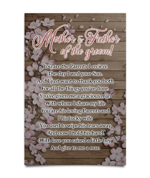 Poster To Mother And Father Of The Groom - Christmas Gift For Couples