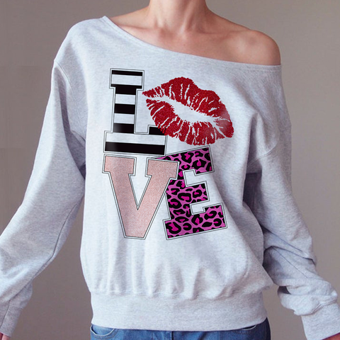 Love off-shoulder Sweatshirt - Christmas Gift For Couples