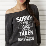 Sorry This Girl's Taken Off-shoulder Sweatshirt - Valentine's Day Gift