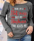 Hot Mess Off-shoulder Sweatshirt - Christmas Gift For Couples