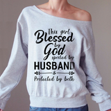 Protected By Both Off-shoulder Sweatshirt - Christmas Gift For Couples