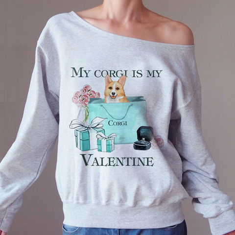 Corgi My Valentine Tif  Off-shoulder Sweatshirt - Christmas Gift For Couples