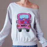 Wifey Matching Off-shoulder Sweatshirt - Christmas Gift For Couples