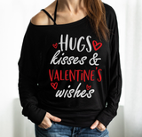 Hug Kiss Off-shoulder Sweatshirt - Christmas Gift For Couples