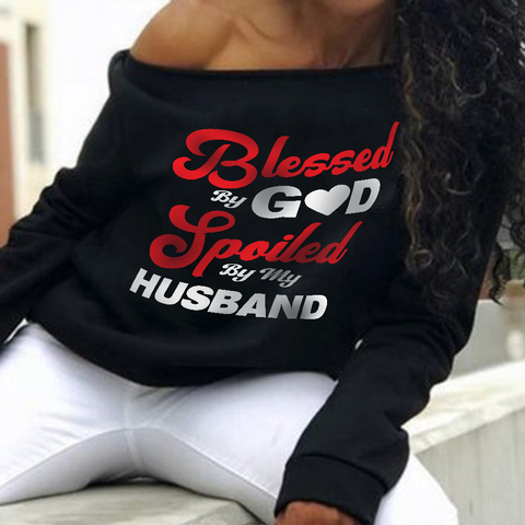 Blessed By God Off-shoulder Sweatshirt - Magic Proposal