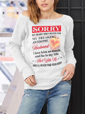 My Heart Only Beats For Husband Off-shoulder Sweatshirt - Christmas Gift For Couples