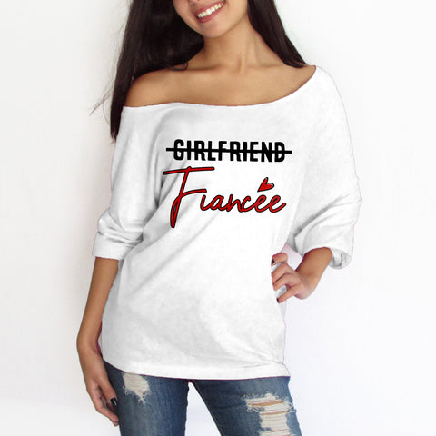Girlfriend Fiancee Off-shoulder Sweatshirt - Christmas Gift For Couples