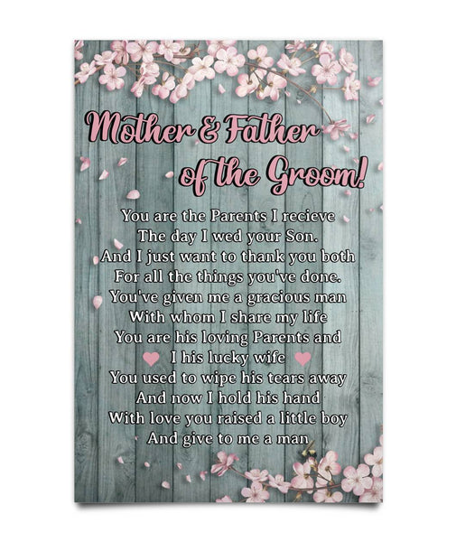 Poster To Parents-in-law - Mother And Father Of The Groom - Christmas Gift For Couples