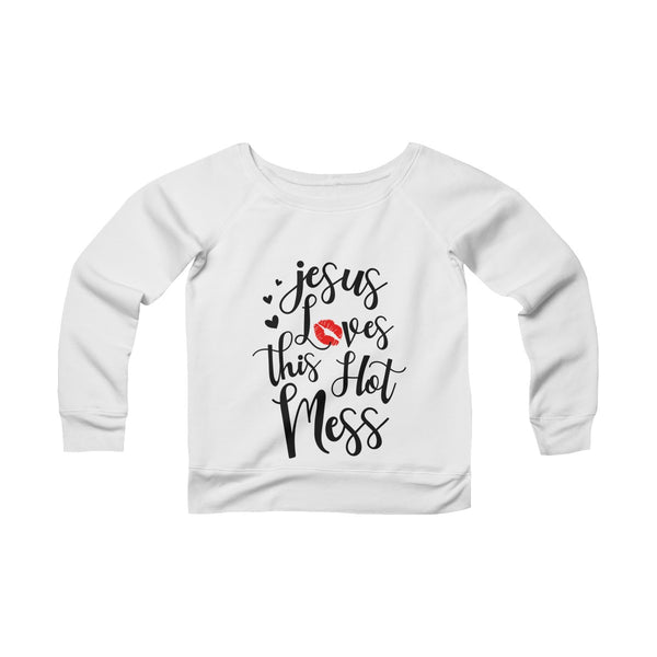 Jesus Loves This Hot Mess Off-shoulder Sweatshirt - Christmas Gift For Couples