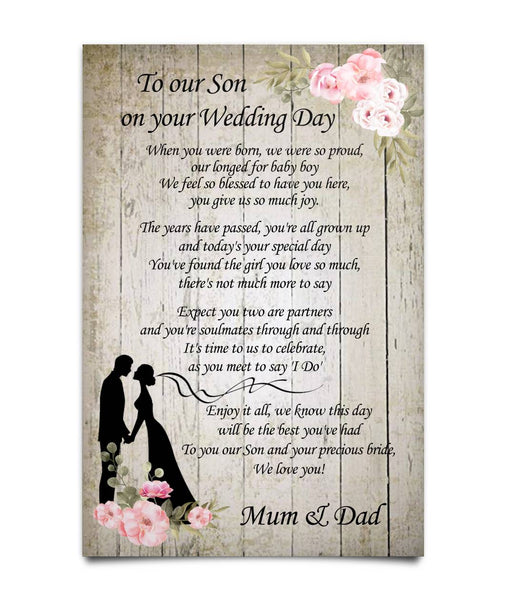 To our Son on your Wedding Day Poster - Valentine's Day Gift