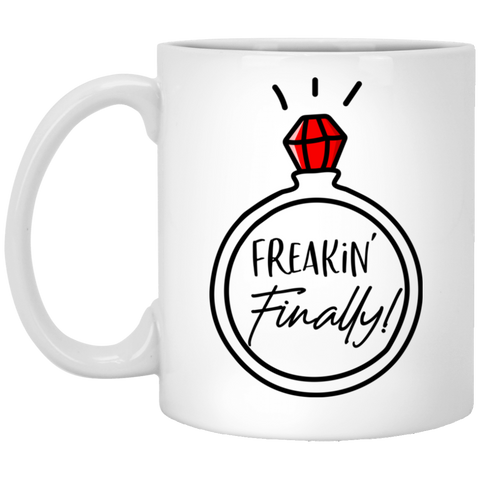 Freakin' Finally Mug - Funny Engagement Gift Idea - Magic Proposal