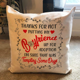 Good Gifts to Get Your Boyfriends Mom - Thank You BF's Mom Pillowcase - Magic Proposal