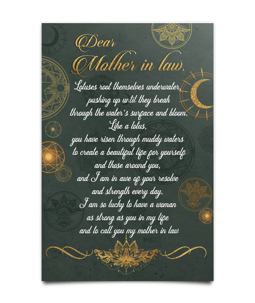 Lotus Poster for Mother-in-law - Meaningful Poem - Valentine's Day Gift