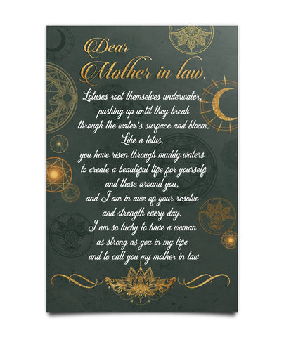Lotus Poster for Mother-in-law - Meaningful Poem - Christmas Gift For Couples