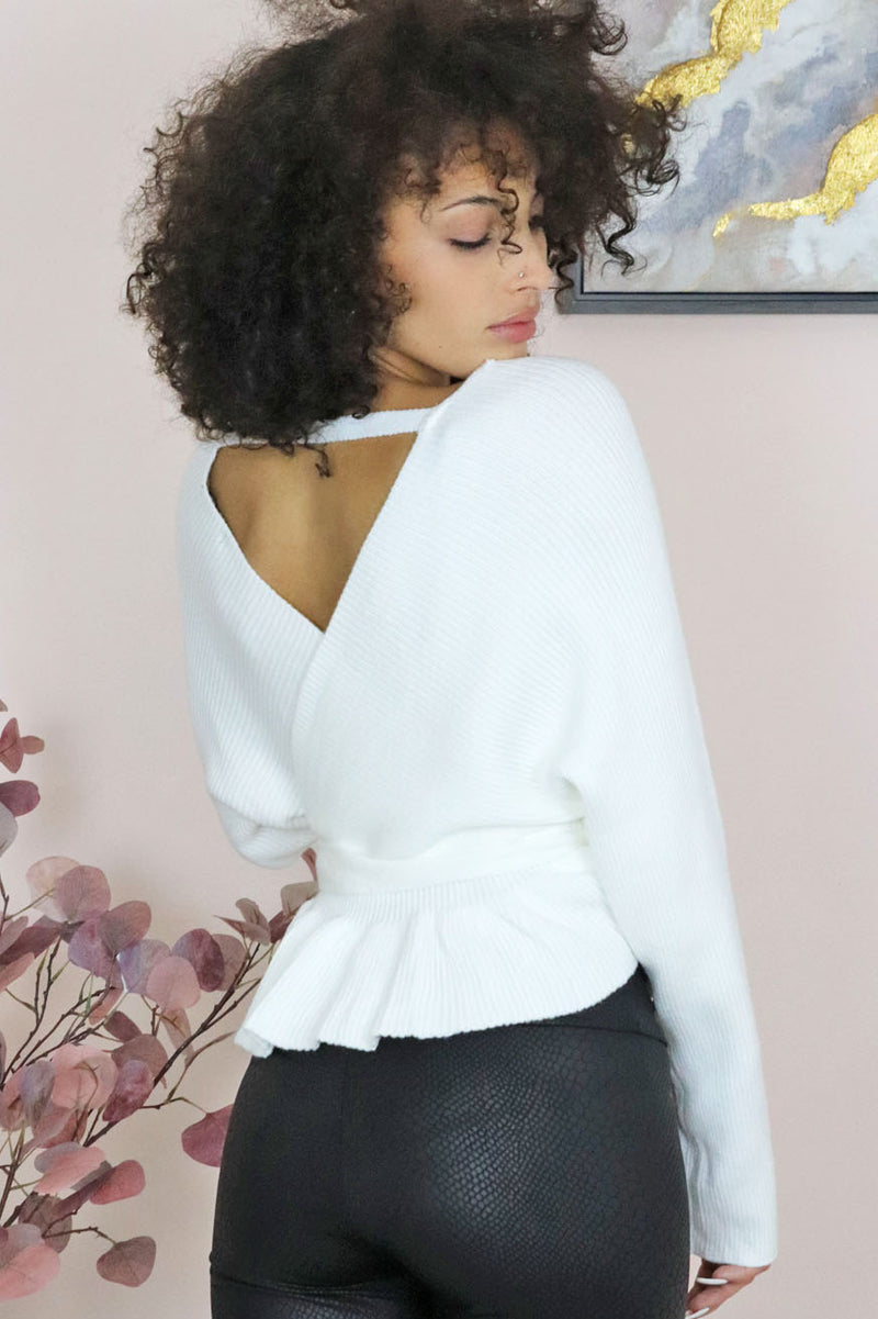 BAR BACK WRAP SWEATER
