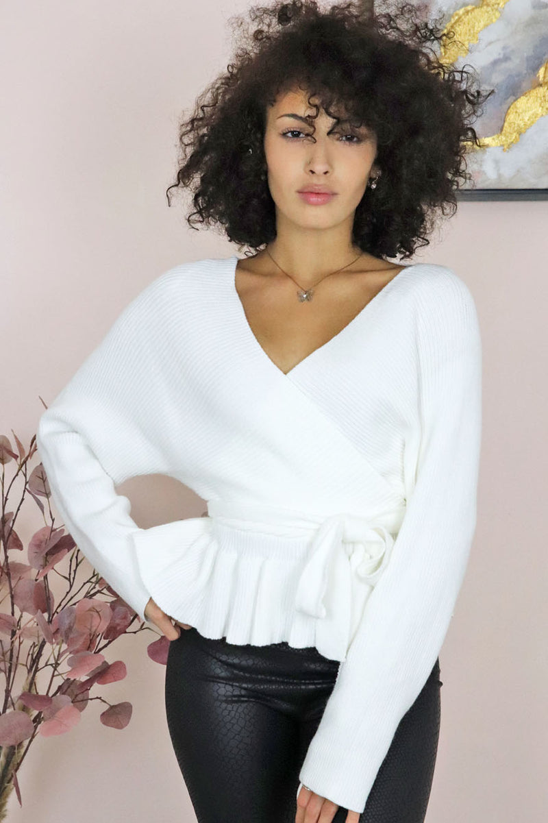 DEEP V LONG SLEEVE WRAP SWEATER