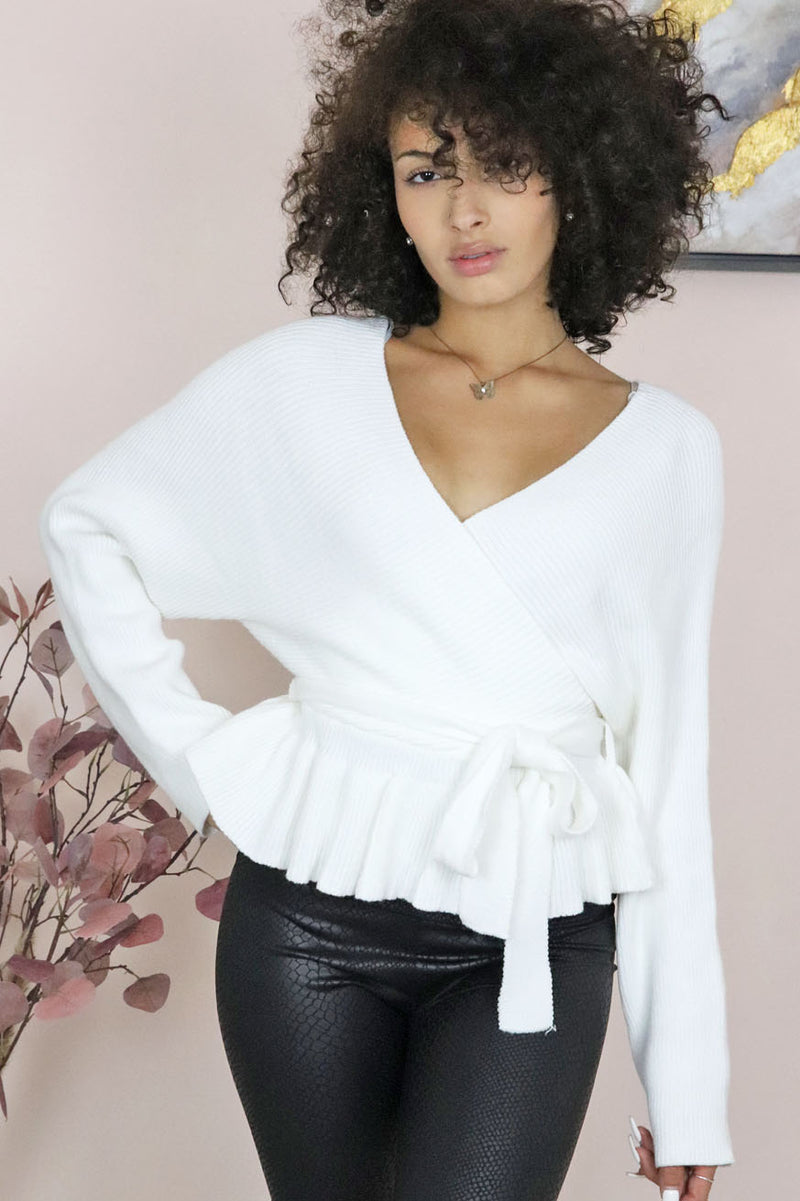 V-NECK BATWING WRAP SWEATER
