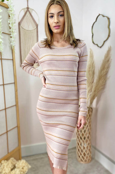 ribbed body-con-long-sleeve-dress