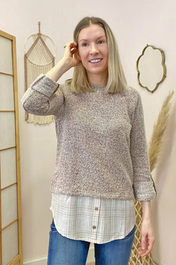 Fabric mix pullover top
