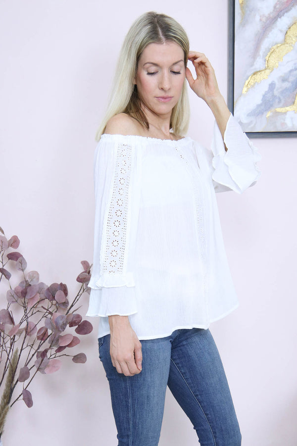 Off the shoulder ruffle top-white
