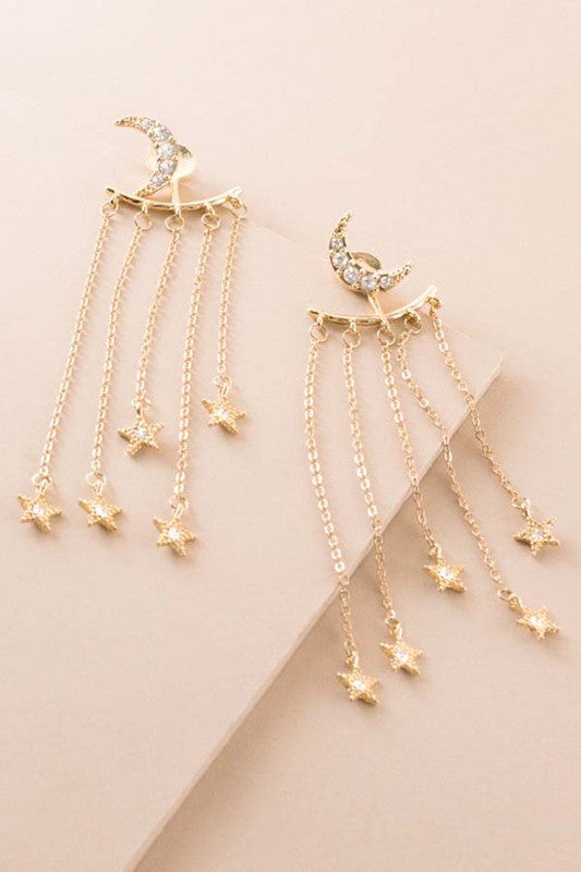 gold moon and star dangle earrings